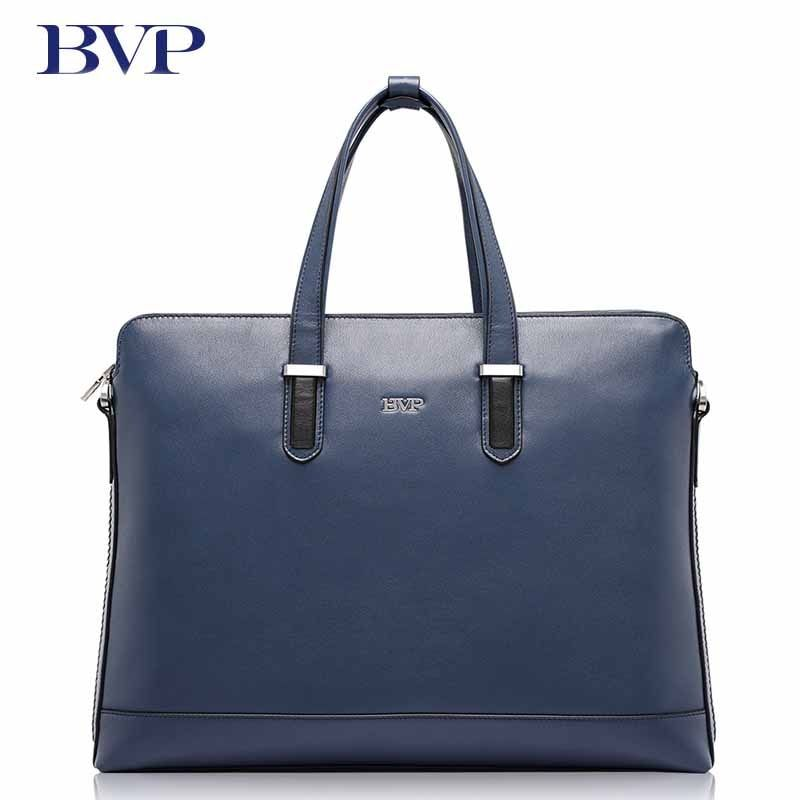 BVP Brand High Quality Genuine Leather Men Briefcase Business Blue Attache Case With Detachable shoulder strap Cow Leather J50