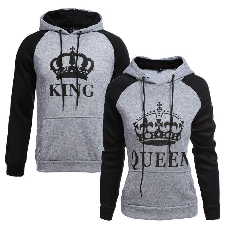 2018 KING Queen Crown Print Unisex Men Women Autumn Hoodies Slim Sweatshirt for <font><b>Couple</b></font> Lovers Winter Patchwork Hooded Pullovers