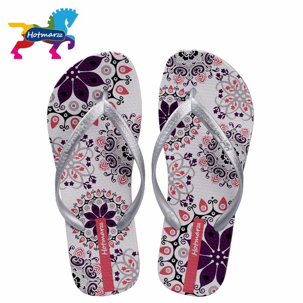 Hotmarzz femmes été bohême plage sandales plates tongs dames mode pantoufles chaussures d'intérieur argent Floral diapositives