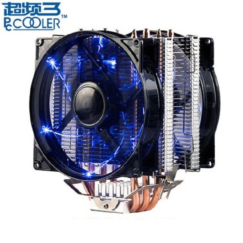 Pccooler X4 4 Heatpipe CPU cooler 12cm LED 4pin fan for Intel 1155 1156 AMD AM4 radiator heatsink CPU cooling 120mm quiet PC fan