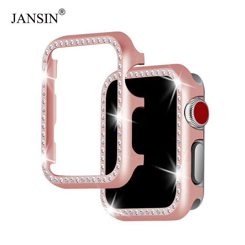 JANSIN metal diamond protective case for apple watch 38mm 42mm 40mm 44mm series 4 3 2 1 iwatch case cover women Bracelet