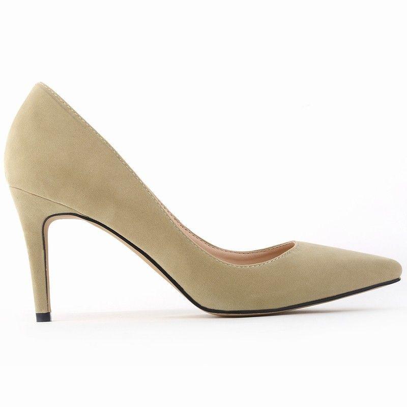 Classique Sexy Bout Pointu mi 8 cm Haute Talons Femmes Pompes Chaussures Faux Suede Printemps Partie De Mariage Pompes Grande Taille 35-42 10 Couleurs