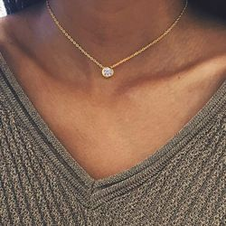 Tardoo Zircon 925 Sterling Silver Round Choker Necklace Geometry Luxury and Romantic Style Fine Jewelry for Women