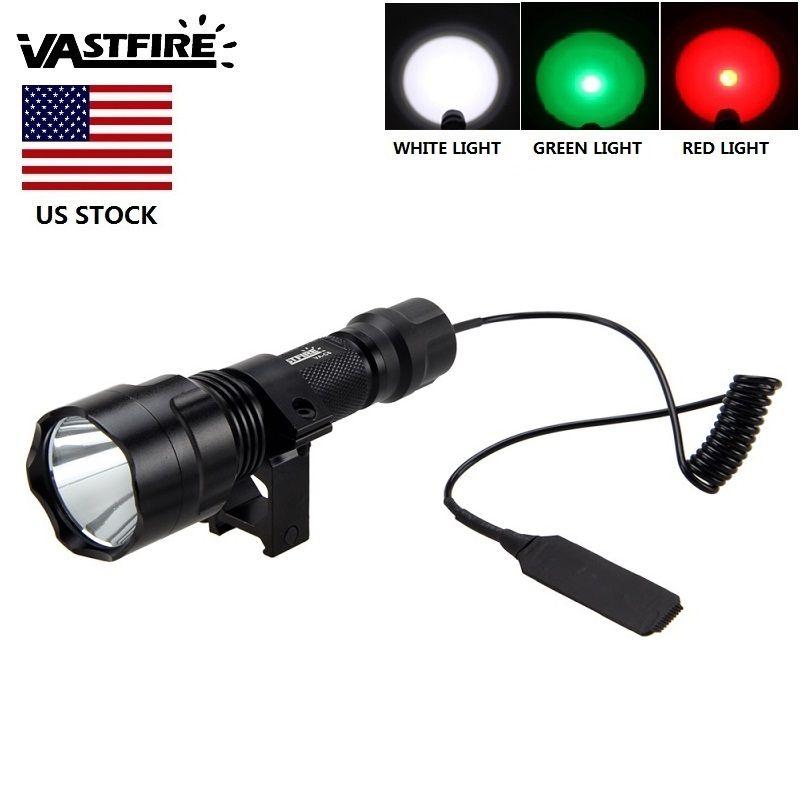 Puissant Lumens T6 LED étanche torche chasse lumière 3 couleur claire rouge/vert/blanc pour la chasse US Stock