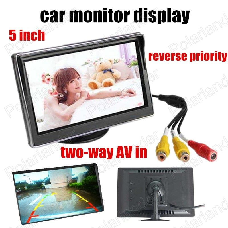 HD digital TFT LCD Screen 5 Inch LCD Car Colorful Monitor Backup rearview Camera DVD reverse priority two-way AV in
