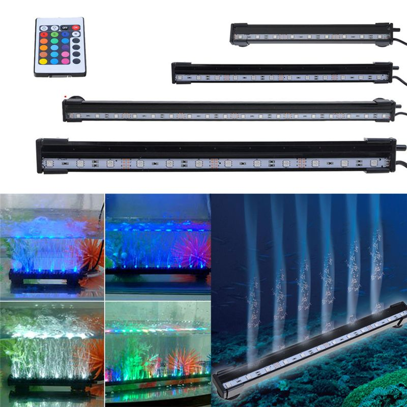 25-55 CM Aquarium 9-21 LED lumière poisson réservoir Submersible Airstone LED bulle lumière 24 clés RC télécommande LED étanche Stip