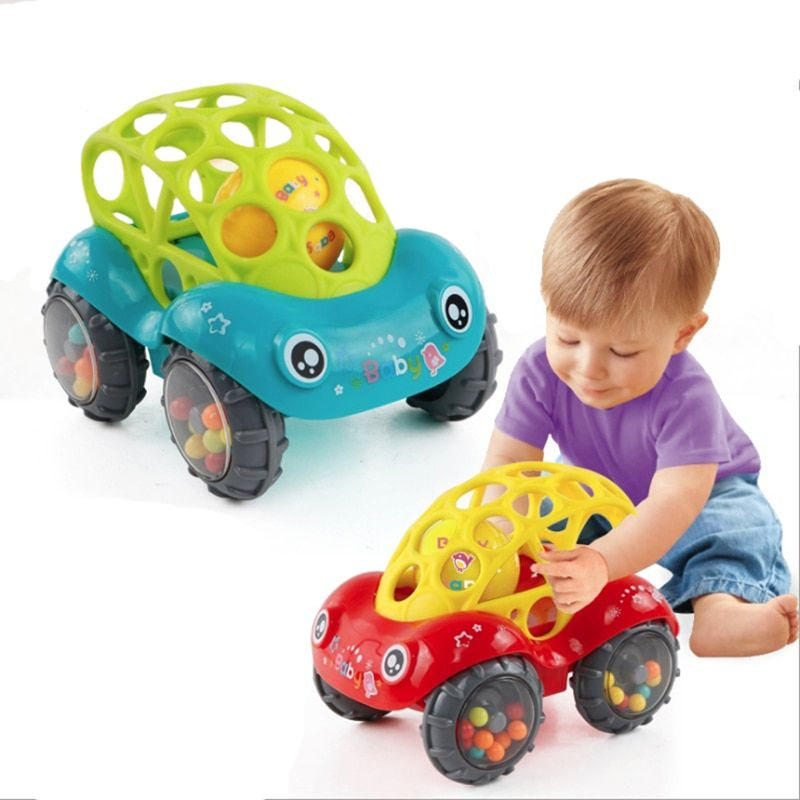 Baby Car Doll Toy  Crib Mobile Bell Rings Grip  Gutta Percha Hand Catching Ball s for  Newborn s  0-12 Months