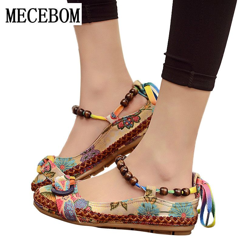 2018 New fashion Women Ethnic Lace Up Beading Round Toe Comfortable Flats Colorful Loafers casual embroidered cotton shoes 7013W