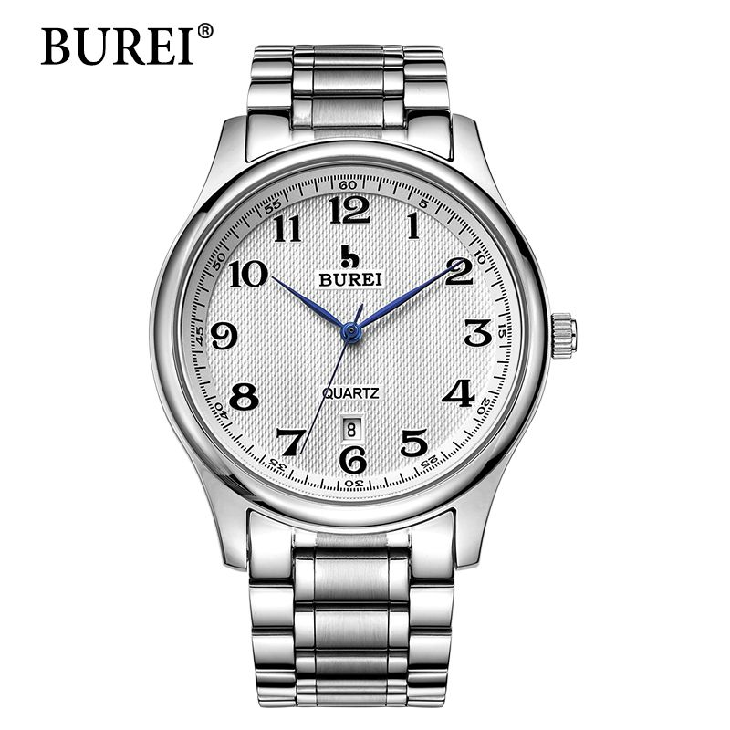 2016 Direct Selling BUREI Men's Quartz Wrist Watches With White Dial Metal Band Male Luxury Famous Brands Date Waterproof Clock