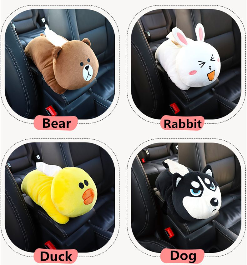 Creative Car Armrest Tissue Box Multi-use Hanging Type Seat Back Type Car Shade Block Cartoon Cute Interior Accessories Washable
