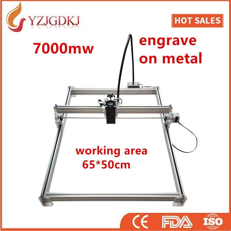 7000 mw Mini de bureau DIY Laser gravure graveur machine de découpe Laser Graveur CNC imprimer l'image de 50X65 cm marque logo sur chien tag