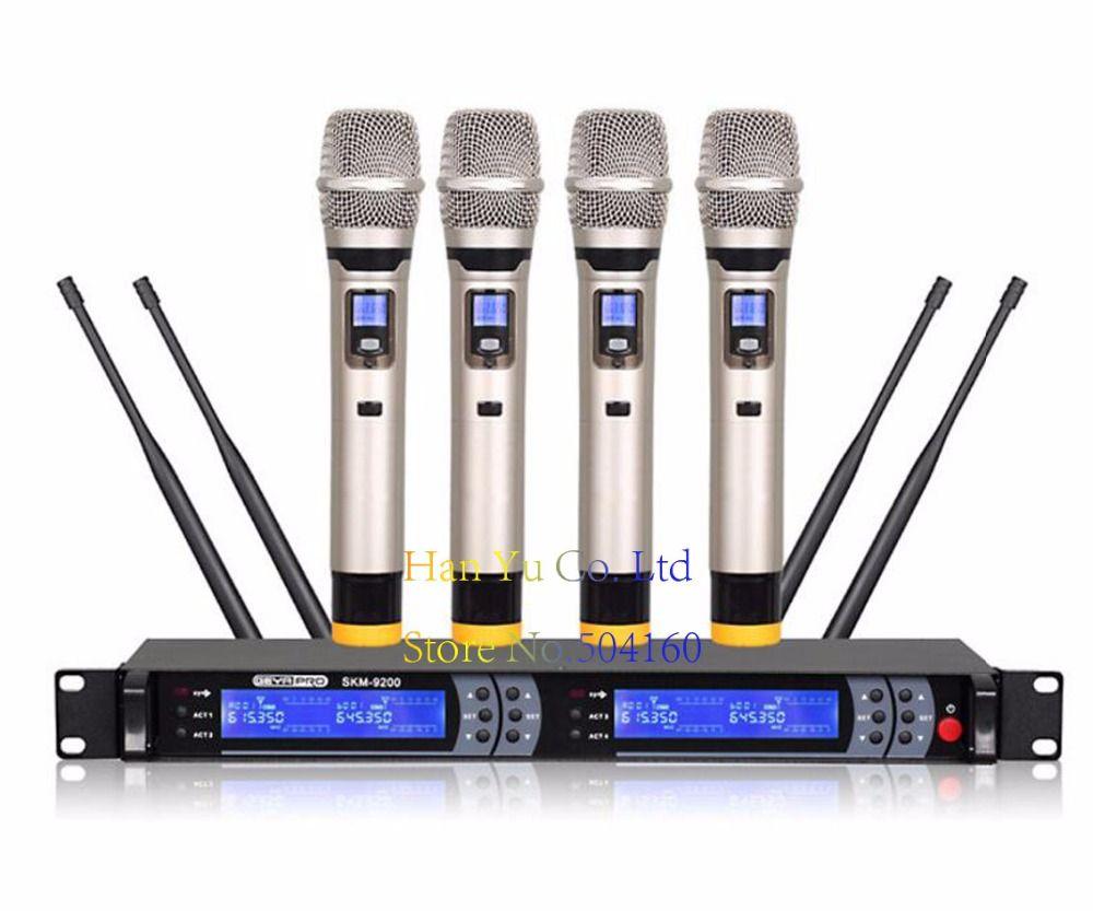 Professionelle KTV drahtlose mikrofon infrarot zu frequenz 4x 100 Kanal UHF Wireless Mikrofon System