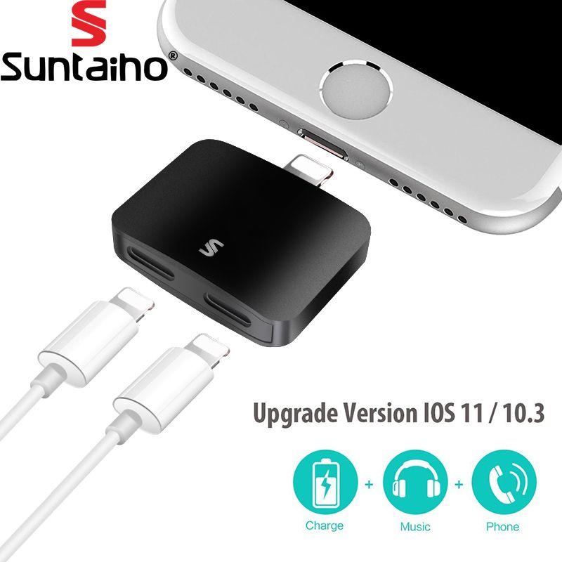 Suntaiho Pour iPhone 7 7 plus Adaptateur & Splitter 2 en 1 Double 8pin casque Audio & Charge & Call Adaptateur Pour iPhone 7/7 Plus