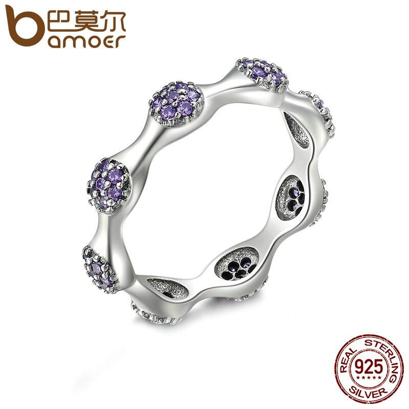 BAMOER Authentic 925 Sterling Silver Round Stackable Ring Purple Clear CZ Finger Rings for Women Wedding Jewelry S925 PA7634