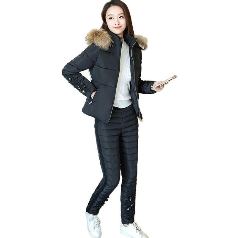 Winter Jacket Women Embroidery Down Cotton Coat New 2017 Fur collar Tracksuit Plus size parka Thick Fashion Pants Two pieces Set