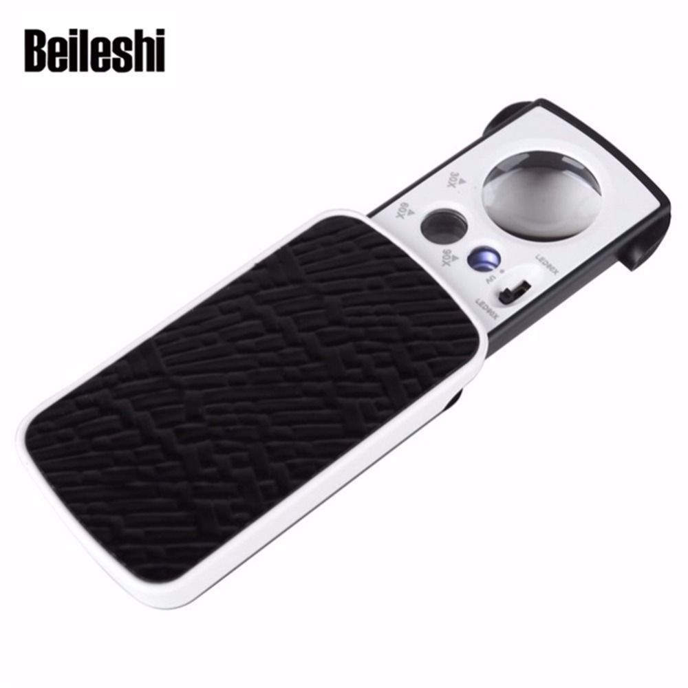 Beileshi Magnifier with UV LED Lighted Slide out Pocket Magnifying Glass 30X 60X 90X Multi-Power Small Size Portable Loupe