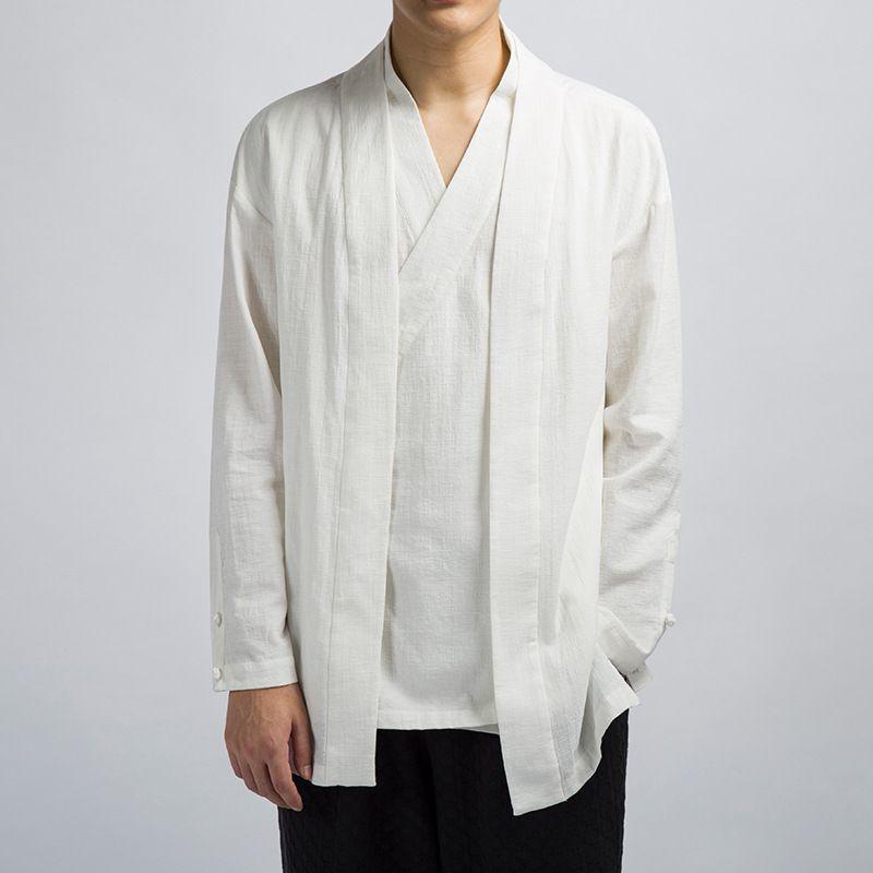 #0506 rétro Vintage coton lin veste hommes col en V noir bleu blanc Beige japonais Kimono veste hommes faux deux pièces Hanfu