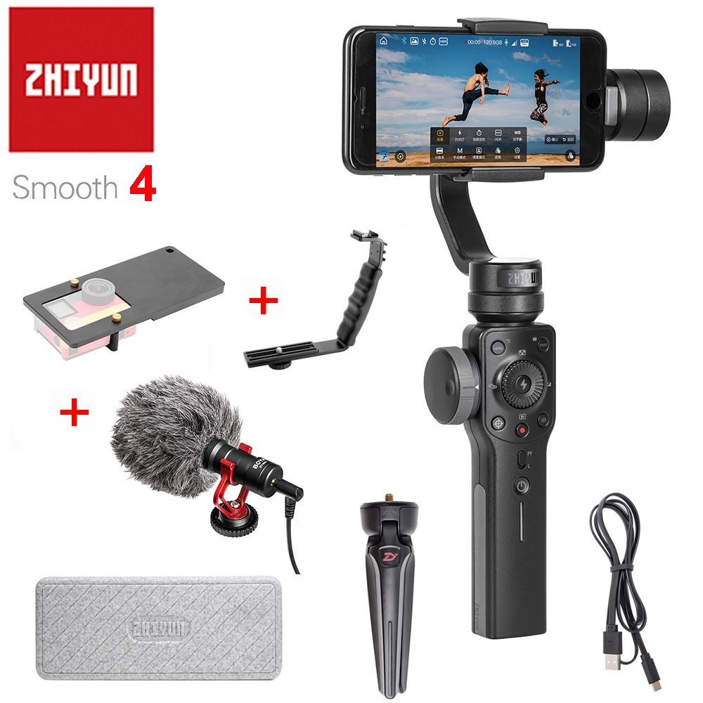 Zhiyun Smooth 4 3-Axis Handheld Smartphone Gimbal Stabilizer VS Zhiyun Smooth Q <font><b>Model</b></font> for iPhone X 8Plus 8 7 6S Samsung S9 S8 S7
