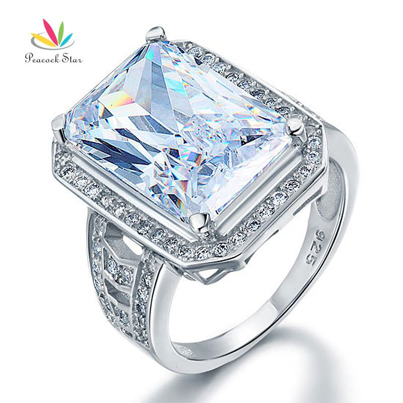 Peacock Star 8.5 Carat Solid 925 Sterling Silver Wedding Engagement Ring Jewelry CFR8116