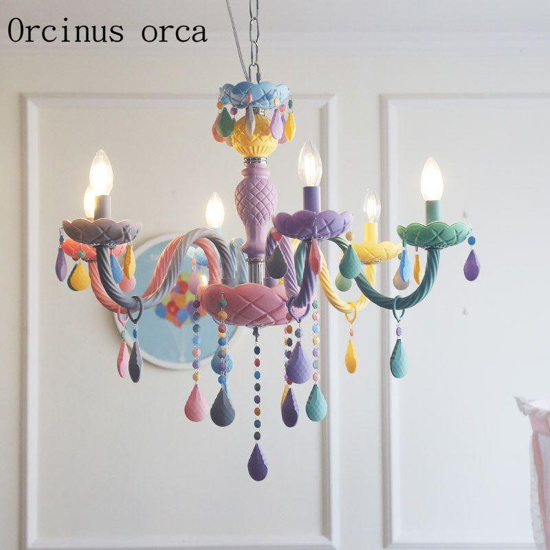 Creative cartoon color crystal chandelier children's room Princess bedroom girl bedroom restaurant American LED chandeliers