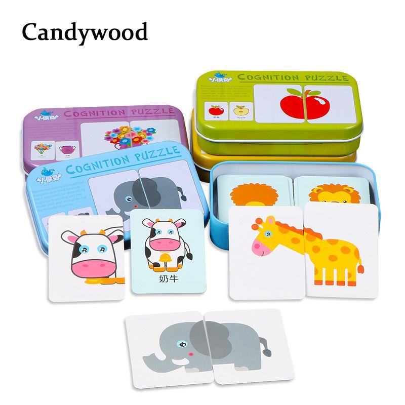 Enfants jouets graphique Match jeu Puzzle carte d'apprentissage dessin animé fruits animaux trafic cartes en bois jouets éducatifs pour enfants