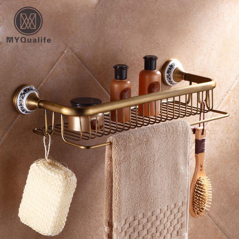 Großhandel Und Einzelhandel Wand Rechteck Bad Kosmetik Rack Dusche Shampoo Duschgel Shelf Antique Brass
