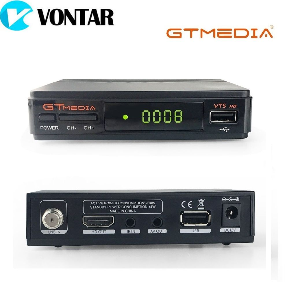 [Véritable] GTMEDIA V7S HD DVB-S2 HD Récepteur de TÉLÉVISION Par Satellite Soutien PowerVu Biss Clé Carte Partage Youtube Youporn Ensemble top Case