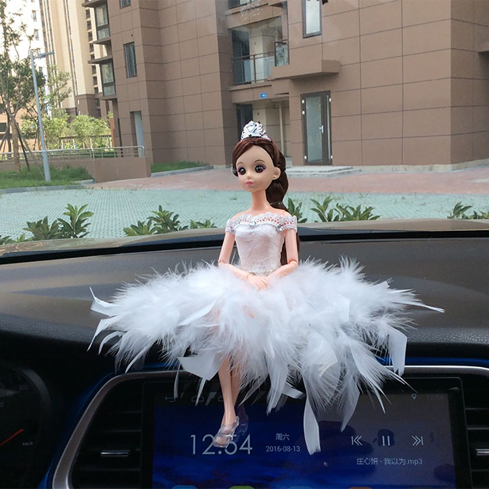 Car Ornaments Cute Barbie Dolls Dashboard Decoration Toys Handmade Lovely Automobile Interior Decor Ornament Accessories Gifts