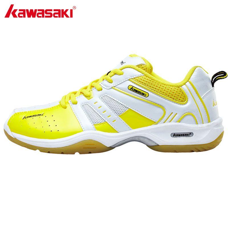 Kawasaki amarillo Encaje-up Zapatillas de bádminton para los hombres profesional antideslizante transpirable atleta tenis interior calzado deportivo