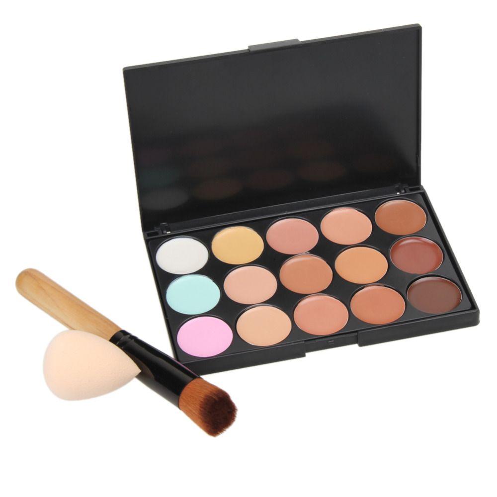 15 Couleurs Maquillage Correcteur Palette Base Fondation Poudre Visage Contour Crème Ensemble + Manche En Bois Pinceau de Maquillage + Éponge Bouffée