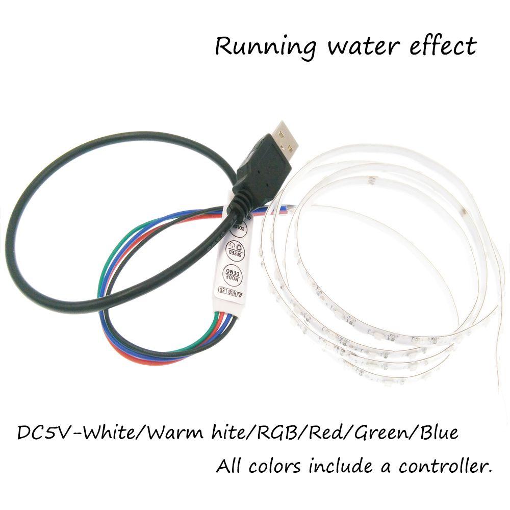Lumière de bande LED usb 5 V SMD1206 1 m effet de l'eau courante bande de LED Flexible lumières tvfond/voiture vélo modèle décoration
