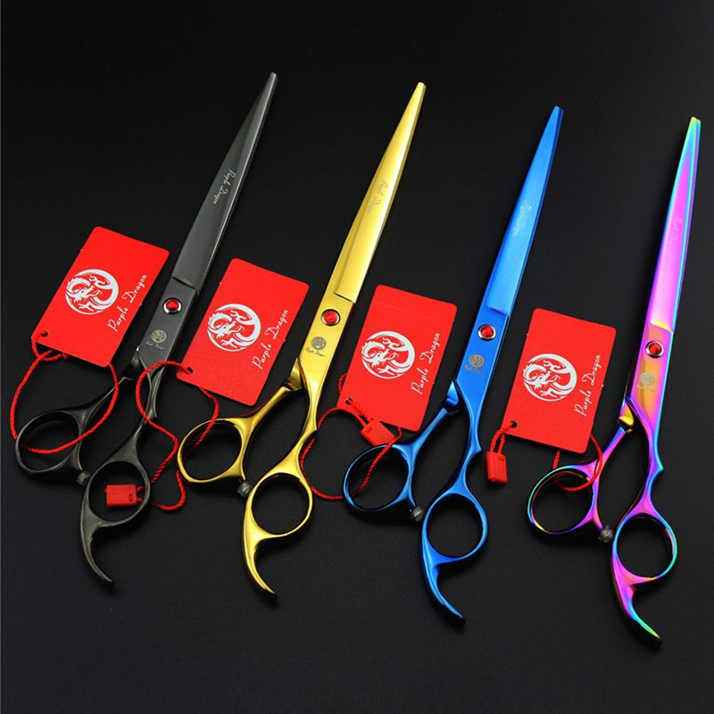 Japan 440C 8.0 Inch Professional Pet Scissors Dog Cat Cutting Grooming Shears Pet Barber Scissors 4 colors