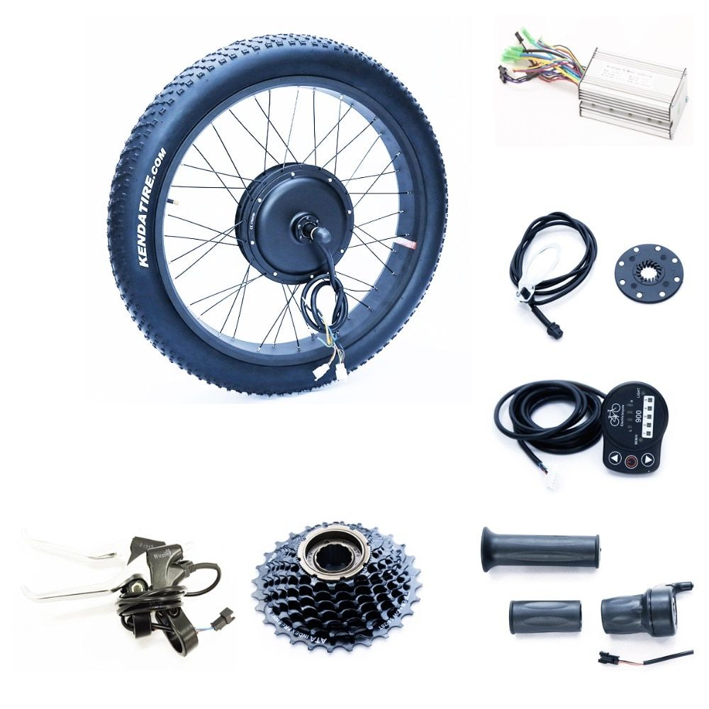 Front or rear motor 65km/h 48v 1500w electric fat bike conversion kit with triangle lithium battery samsung cell