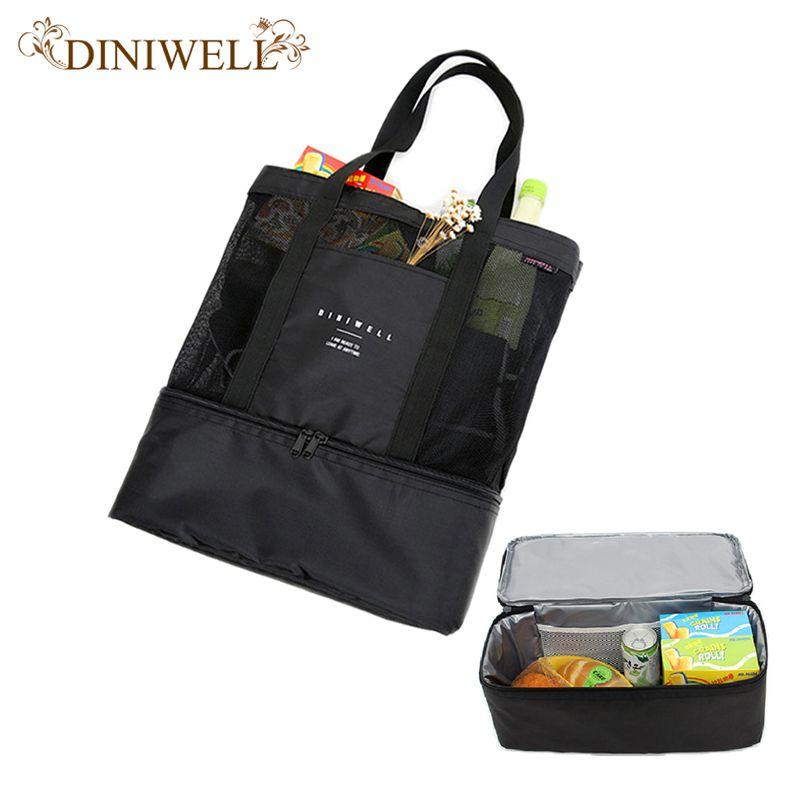 DINIWELL Wasserdichte PVC Doppel Reise Lagerung Isolierten Tasche Outdoor Picknick Lunchbox Eisbeutel Große Kapazität