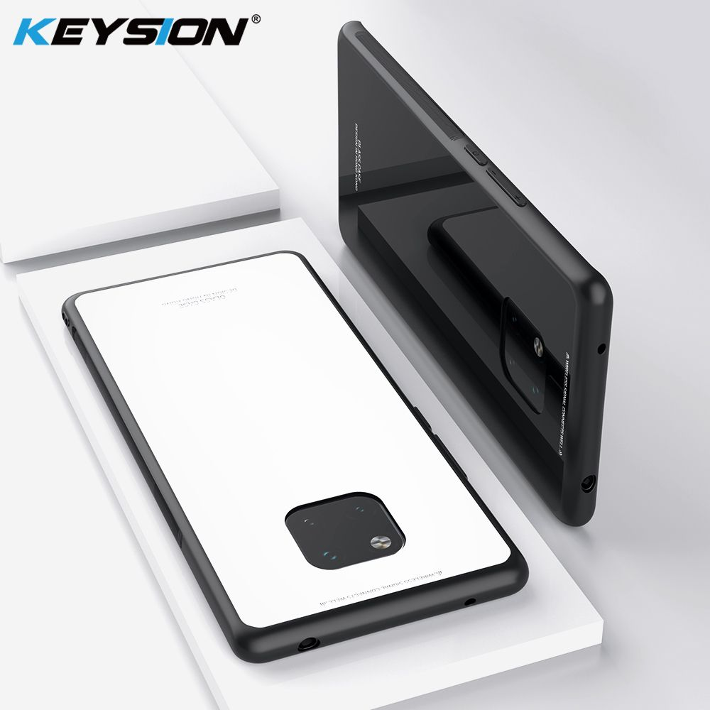 KEYSION Tempered Glass Phone Case For Huawei Mate 20 Pro Glass Non-slip Black Cover For Huawei Mate 20 Case Funda Accessories