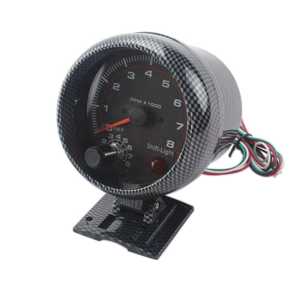 CNSPEED 3.75inch 80mm Racing Car 0-8000 RPM Carbon Tachometer Gauge With Shift Light Mounting Bracket Auto Car Meter TT100144
