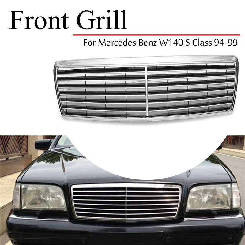 Chrome Front Hood Bumper Grill Grille for Mercedes for Benz W140 S Class 1994-1999 Bumpers Auto Replacement Parts