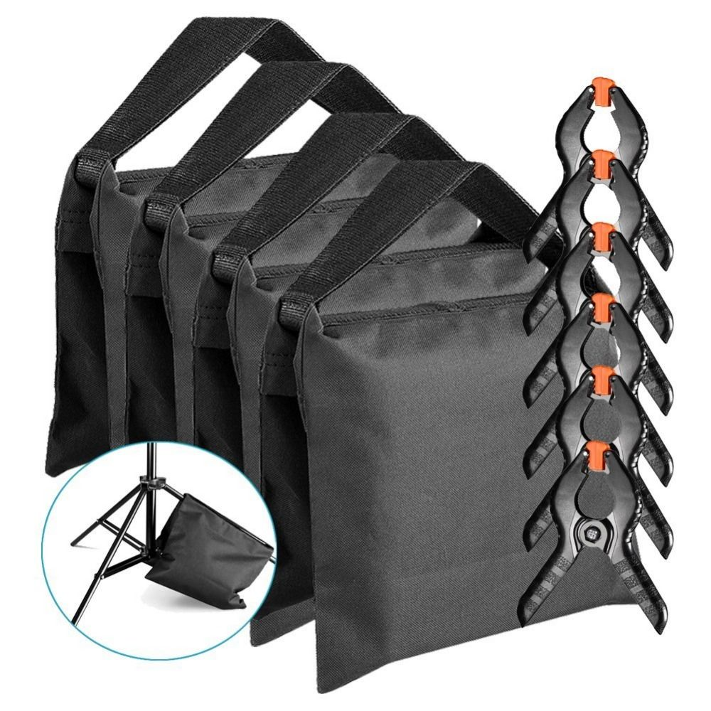 Neewer Photographic Sandbag for Light Stands, Tripods and Muslin Spring Clamps/Clips for Photo Studio Backdrops Backgrounds