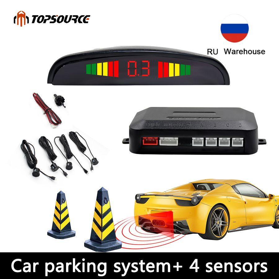 Capteur de stationnement de voiture affichage Parktronic 4 capteurs aide de sauvegarde inverse détecteur de Radar lumière LED automatique système de moniteur cardiaque