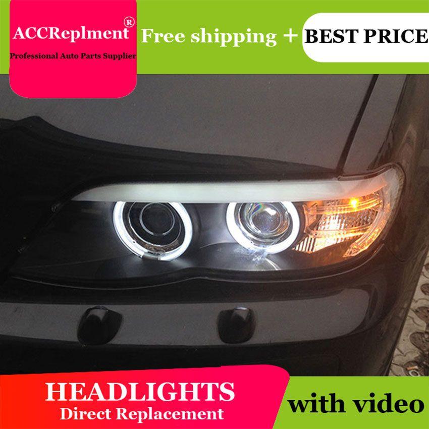 AUTO. PRO 2004-2006 Für BMW X5 scheinwerfer parkplatz Q5 bi xenon objektiv LED DRL H7 xenon Für BMW X5 KOPF LAMPEN auto styling
