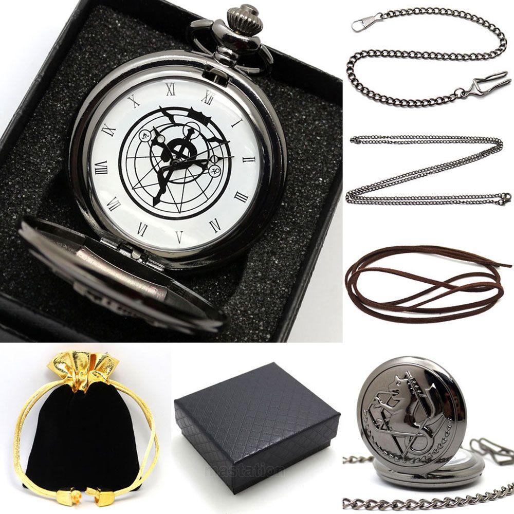 Anime Fullmetal Alchemist Edward montre de poche ensemble avec collier Cosplay Costume accessoires hommes femmes horloge cadeau ensemble relogio masculin