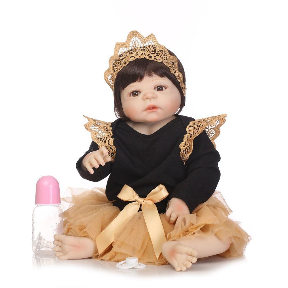 NPKCOLLECTION Full Vinyl Silicone Reborn Baby Doll Toys Lifelike Baby-Reborn Princess Doll Child Birthday Xmas Gift