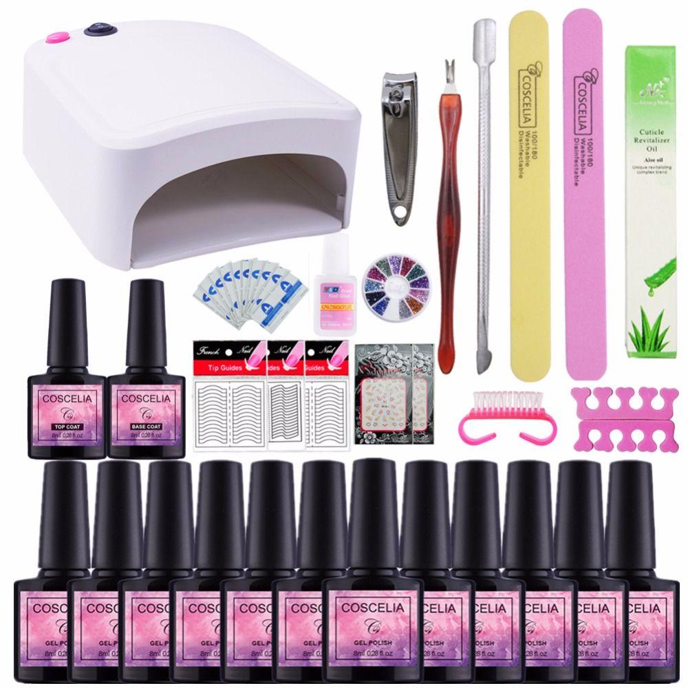 Nail art set 36 watt UV LED LAMPE Trockner & 12 Farbe Gel Nagellack Set kit Nagel Werkzeuge Gel lack lack maniküre werkzeuge kit