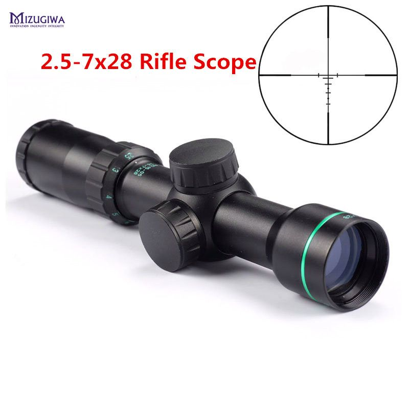 MIZUGIWA Tactical Optical Sight 2.5-7x28 Riflescope Reticle Optical Sight Air Rifle Scope Hunting Caza Airsoft Airgun Chasse