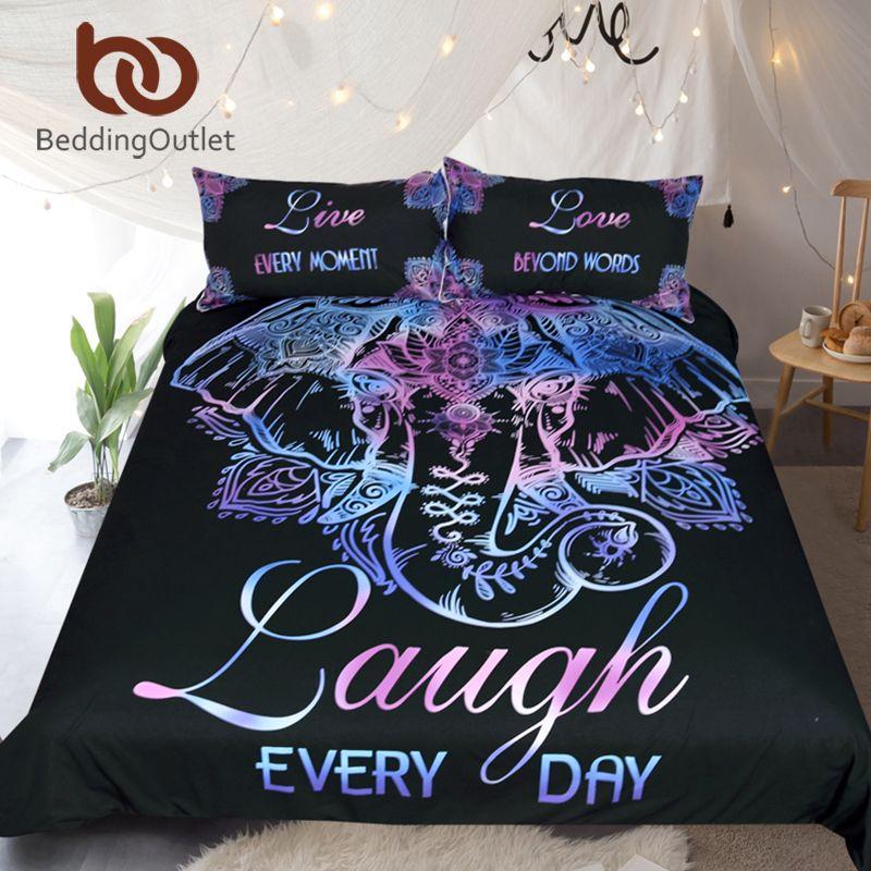 BeddingOutlet Elephant Bedding Set Queen Size Duvet Cover Single Double Lotus Flower Bed Cover Bohemian Floral Bedclothes 3pcs