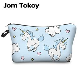 Jom Tokoy Printing Unicorn Kosmetik Tas Multicolor Pola Cute Kosmetik Pouchs untuk Perjalanan Wanita Kantong Tas Makeup Wanita