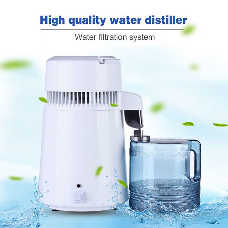4L Home Pure Water Distiller Filter Water Distilled Machine Distillation Purifier Equipment Stainless Steel Plastic Jug Dental