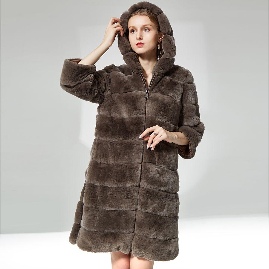 Rabbit fur coat zipper with fur hood Thick warm soft Fur Overcoat Clothing for women natural real rex rabbit fur coat long