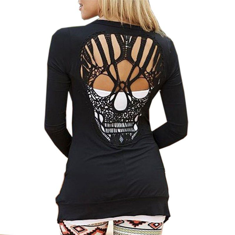 Women's Summer Autumn Black Casual Jacket Jumper Tops Long Sleeve Sexy Back Skull Cut Out Sweaters