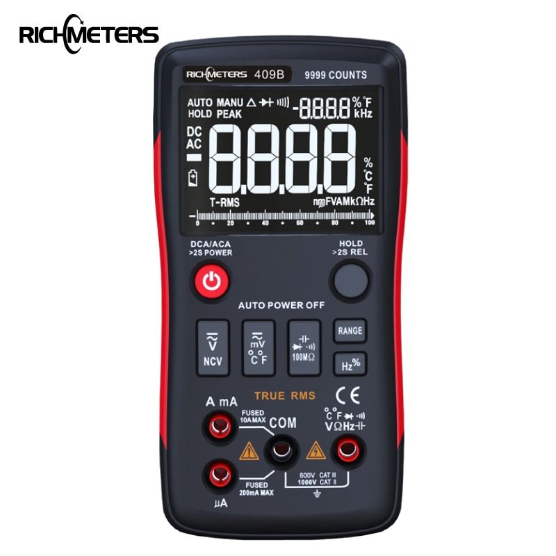 RM409B True-RMS bouton multimètre numérique 9999 comptes avec graphique à barres analogique ampèremètre de tension AC/DC Ohm courant Auto/manuel